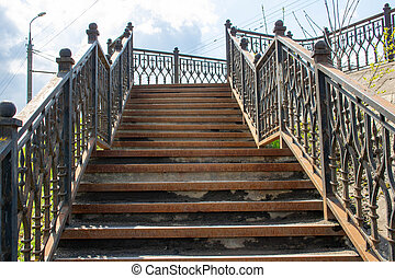 vieux, rust., étapes, grille, staircase., taché, fer, rouillé
