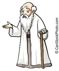 vieux, sage, homme
