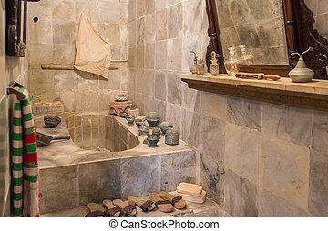 vieux, salle bains, (2), marbre