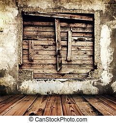 vieux, salle, maison, haut, fenêtre, abordé