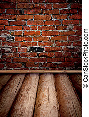 vieux, salle, mur, brique