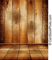 vieux, salle, plancher, bois, parquet, vide