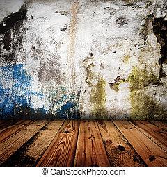 vieux, salle, plancher, mur, bois, grunge