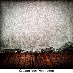 vieux, salle, plancher, mur, bois, grunge, vide