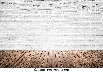 vieux, salle, plancher, mur, bois, intérieur, brique
