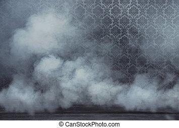 vieux, salle, vendange, fumée, dense, rempli