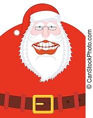 vieux, santa, large, claus, illustration, noël, grand, laughs., conception, joyeux, joyeux, année, template., sourire, belt., mouth., nouveau, noël, man.