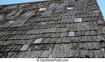 vieux, semi-damaged, toit