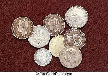 vieux, siècle, pièces, dix-huitième, dix-neuvième, espagne
