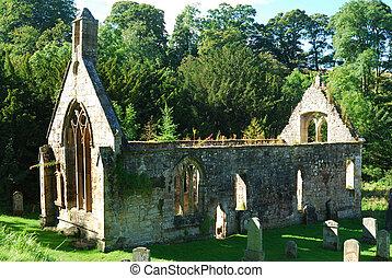 vieux, siècle, ruine, 14e, église, temple