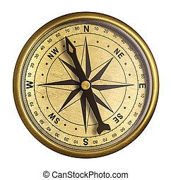 vieux, simple, nautique, isolé, compas, laiton, blanc