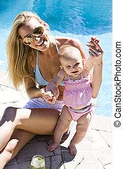 vieux, six, suivant, mère, bébé, mois, piscine, natation