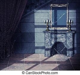vieux, sombre, château, intérieur, abandonnés