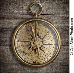 vieux, sommet, bois, compas, table, laiton, vue