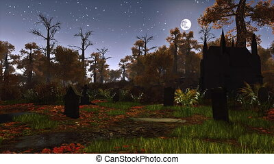 vieux, spooky, cimetière, forêt, nuit, 4k