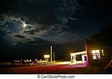 vieux, station, patrouille, nuit