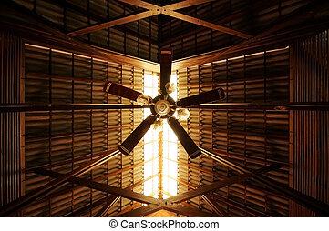 vieux style, ventilateur, plafond