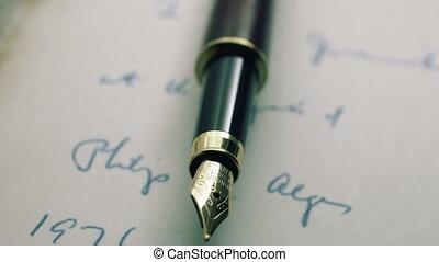 vieux, stylo, fontaine, lettre