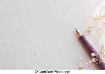 vieux, stylo fontaine, sur, vieilli, papier