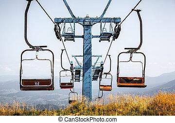vieux, summer., ascenseur, devant, ski, vue