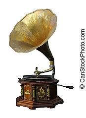 vieux, sur, phonographe, isolé, arrière-plan., blanc, bronze