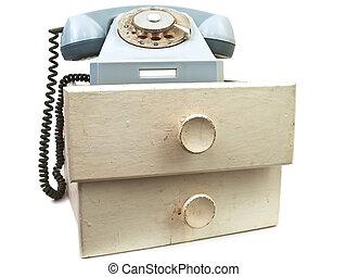 vieux, téléphone, à, tiroirs
