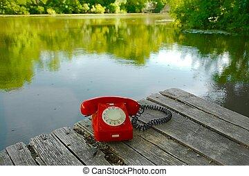 vieux téléphone, dans, nature