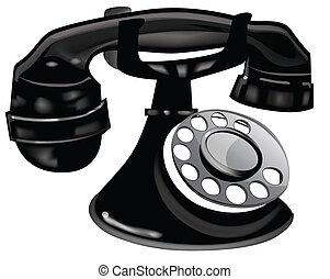 vieux, téléphone noir, façonné