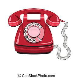vieux téléphone, vecteur, rota, icône, rouges