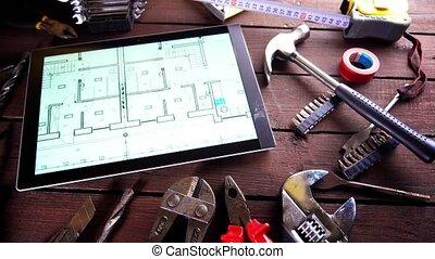 vieux, tablette, beaucoup, moderne, rouillé, outils bureau