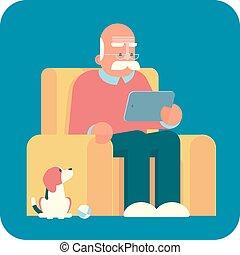 vieux, tablette, pc., utilisation, dessin animé, homme