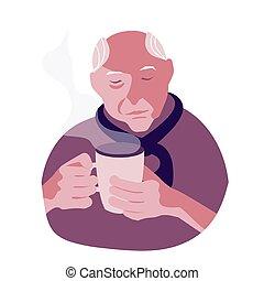 vieux, tasse à café, homme