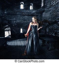 vieux, tasse,  vampire, sanguine, femme, château