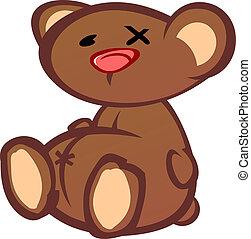 vieux, teddy, battement, haut, ours, carboniser, dessin animé