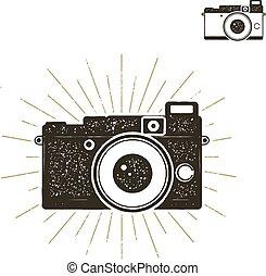 vieux, tee, habillement, style, caractères, designs., voyage, isolé, étiquette, arrière-plan., appareil photo, vector., dessiné, blanc, stockage, vendange, bon, grandes tasses, chemise, main, icône, sunbursts., fanion