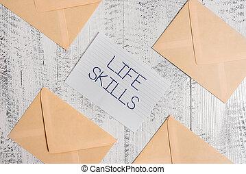 vieux, texte, signe, quatre, papier, compétence, journalier, feuille, vendange, arrière-plan., enveloppes, photo, conceptuel, participation, vie, entiers, autour de, projection, gouverné, skills., nécessaire, bois