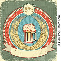 vieux, texte, symbole, bière, papier, label.vintage, fond, rouleau