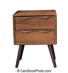 vieux, thaï, bois, meubles, bureau, à, poussière, isolé, blanc