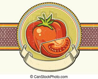 vieux, tomatos, vendange, texture.vector, étiquette, papier, fond, rouges