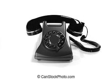 vieux, très, isolé, téléphone, fond, blanc, analogue