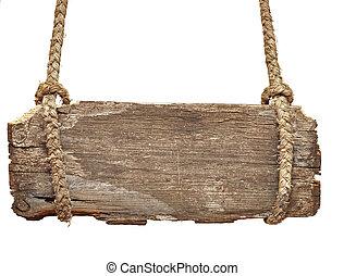 vieux, très, vendange, signe, corde, planche