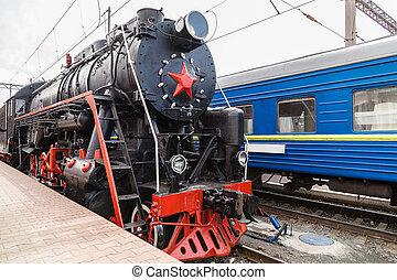 vieux, train vapeur, est, partir, a, station