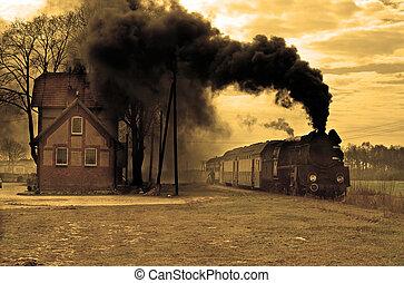 vieux, train vapeur, retro
