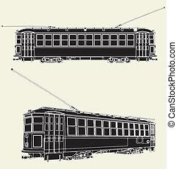 vieux, tram, chariot