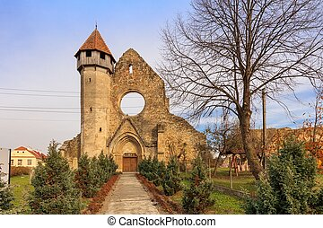 vieux, transylvania, romania., abbaye, ruiné, cistercian, carta