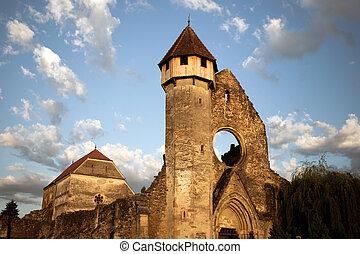vieux, transylvania, ruiné, carta, abbaye, cistercian, romania.