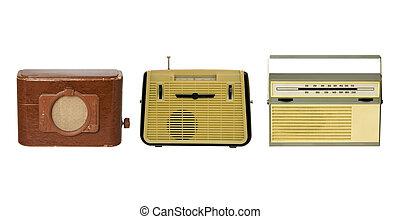 vieux, trois, façonné, radio-sets