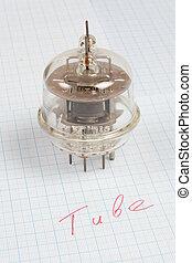 vieux, tube), graphique, tube, papier, fond, vide, (electron