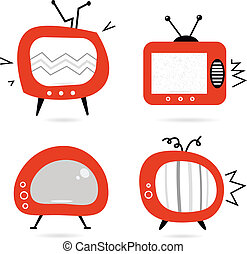 vieux, tv, isolé, collection, retro, blanc