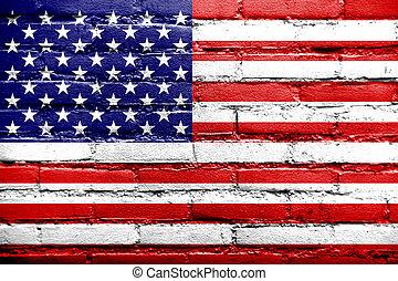 vieux,  USA, peint, mur, drapeau, brique